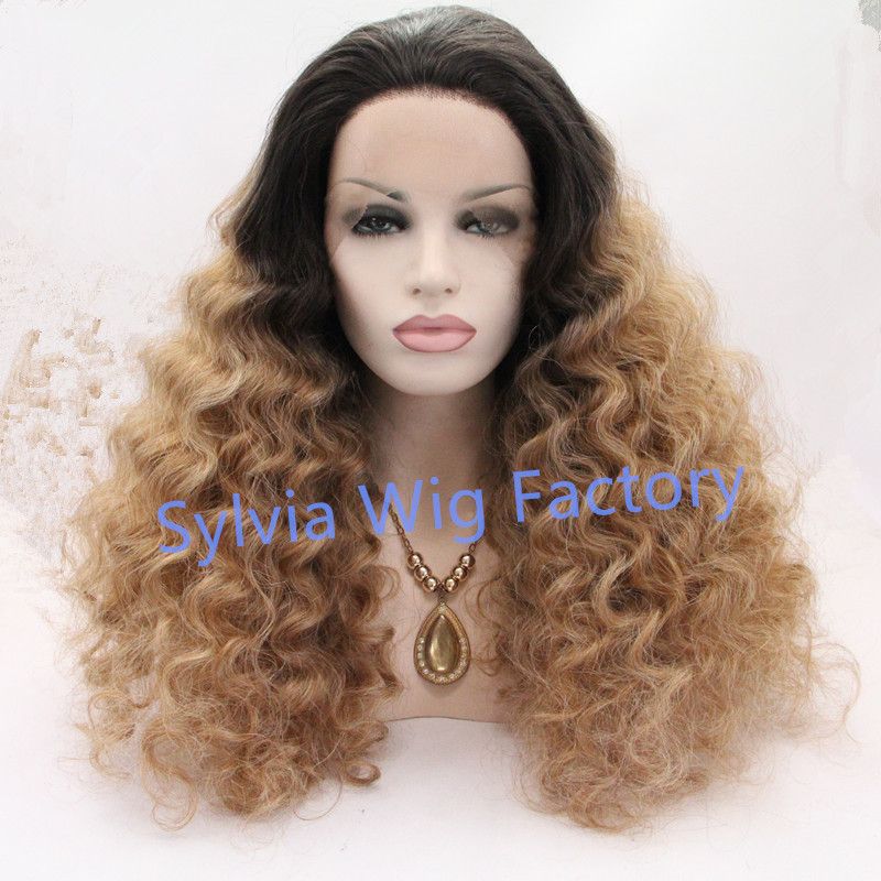 ФОТО Hot sale!Fashional afro body curly wigs 2T brown ombre brazilian wig synthetic lace front wig Synthetic Hair large stock