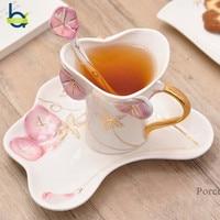 OBR Coffee Mug Ceramic Mug Set With Dish And Spoon 3d Flower Cup Breakfast Milk Tea Cup Creative Friends Gifts Drinkware
