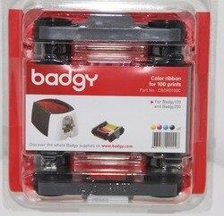 Evolis CBGR0100C YMCKO Ribbon CASSETTE 100 พิมพ์ 5 แผง CBGR0500K สีดำสำหรับ Badgy100 Badgy200 ID ริบบิ้นเครื่องพิมพ์บัตร
