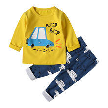 SAILEROAD 2019 Brand New Pyjamas Baby Boys Sleepwear Kids 100% Cotton Long Sleeve Fashion Cartoon Car Pajamas For Girls Clothes