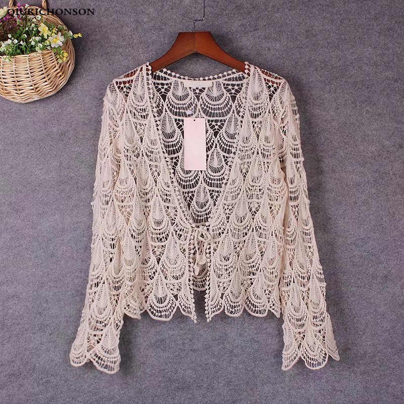 Spring Summer Hollow Out Phoenix Flower Crochet Lace Cardigan Women Seven Sleeve Bohemian Crop Tops Ladies Lace Blouses femme