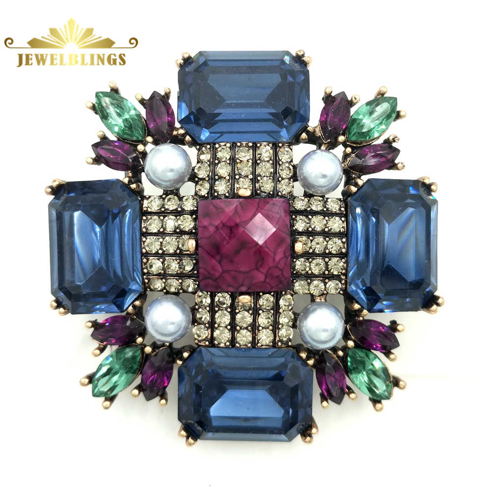 0e07411a672 Victorian Vintage Dark Blue Crystal Burst Star Brooch Gold Tone Imitated  Pearl Deco Domed Round Pink