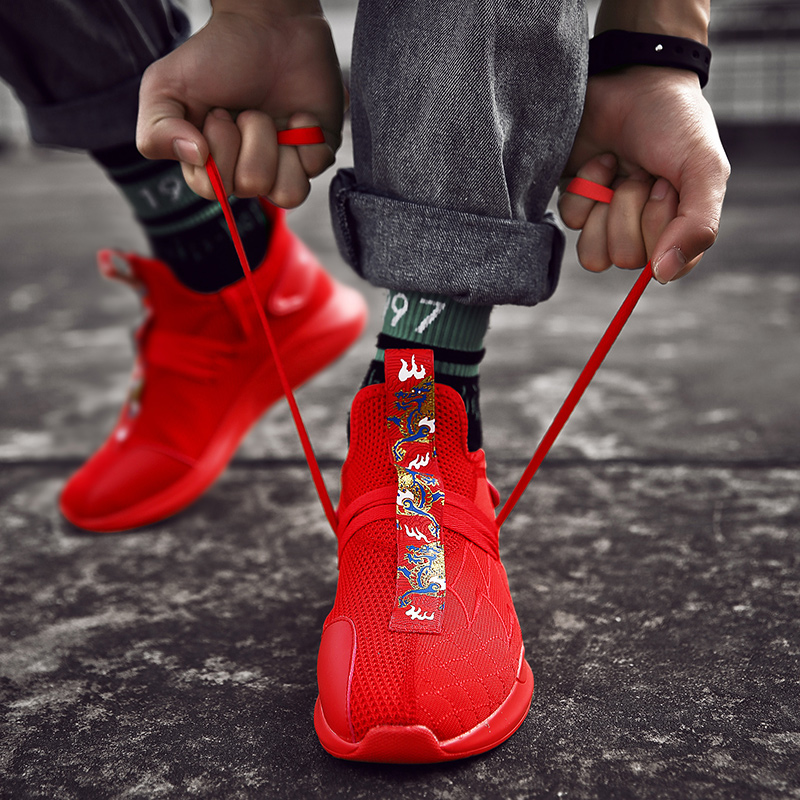 New Cool Men Shoes Sneakers Mid Top Breathable Boy Athletic Shoes For Walking Brand Sport Trainers White Red Men Gym Men Shoes in Running Shoes from Sports Entertainment