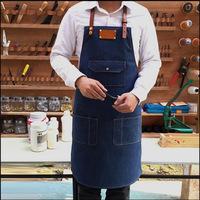 Personalized Handmade LOGO Customize Classical American Denim Apron With PU Leather Strap M LSize For Barista Barber Baker