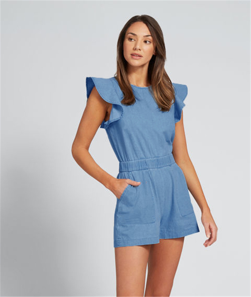 Rompers Women Jumpsuit Denim Blue Playsuit Summer Ruffles Short Sleeve Shorts Jumpsuits Rompers Casual Pocket Overalls Female schwarzer jumpsuit lang elegant