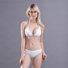 Deep V Neck Thong Bikini Push Up Two Piece Backless Soft Swimming Suit For Women 5 Colors Lace Swimwear Female 2019 Brazilian