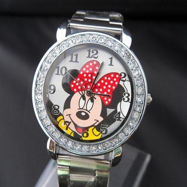 2017 Women Quartz Watch fashion silver round mickey Minnie Watch Men childrens s