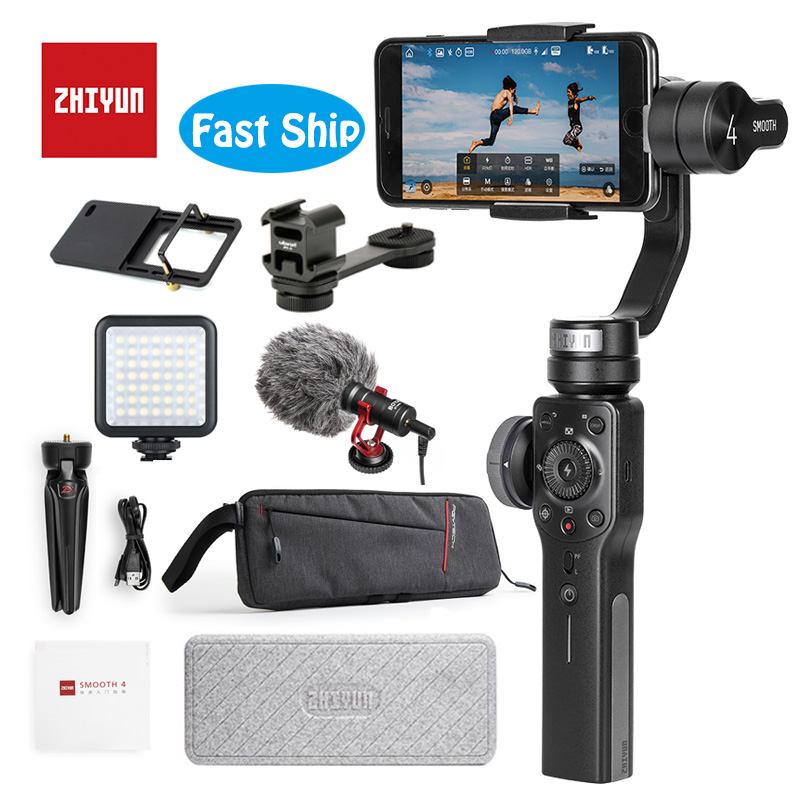 Zhiyun Suave 4 3-Eixo Cardan Handheld Estabilizador para Gopro Câmera do Smartphone iPhone Xs X 8 Plus (Pull & Controle de Zoom) VS Osmo 2