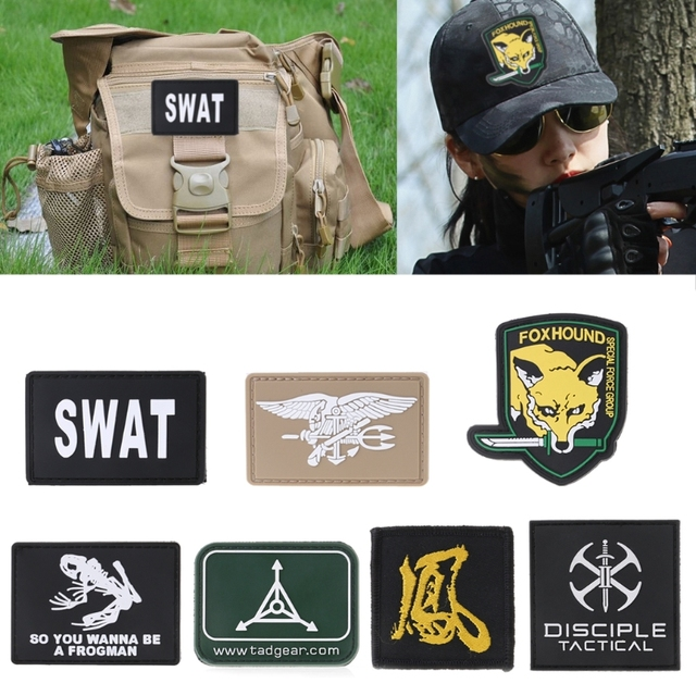 Military Tactical Armband PVC Rubber Morale Patch Hat Badge Hook Brassard  Emblem 44e2c42aede
