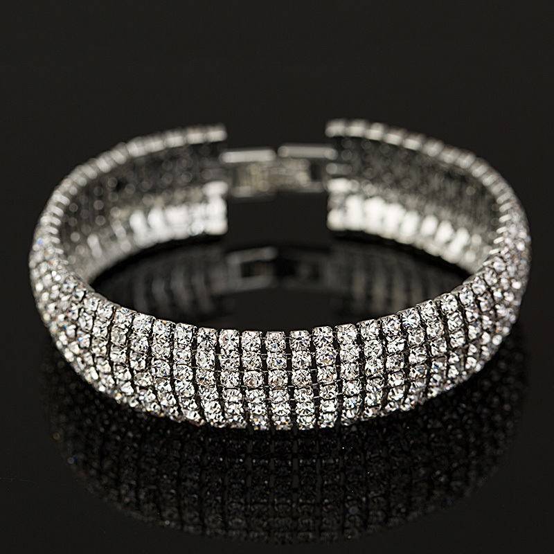 Yfjewe Factory Price Gold And Silver Color Clic Crystal Pave Link Bracelet Bangle Fashion Full Rhinestone Jewelry Women B011 In Chain Bracelets