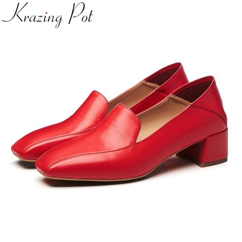 2018 new fashion genuine leather women brand shoes med heels square toe slip on women pumps runway solid shallow party shoes L99 2018 patent leather slip on keep warm pumps for women square toe preppy style pearl wedding med heels brand winter shoes l18