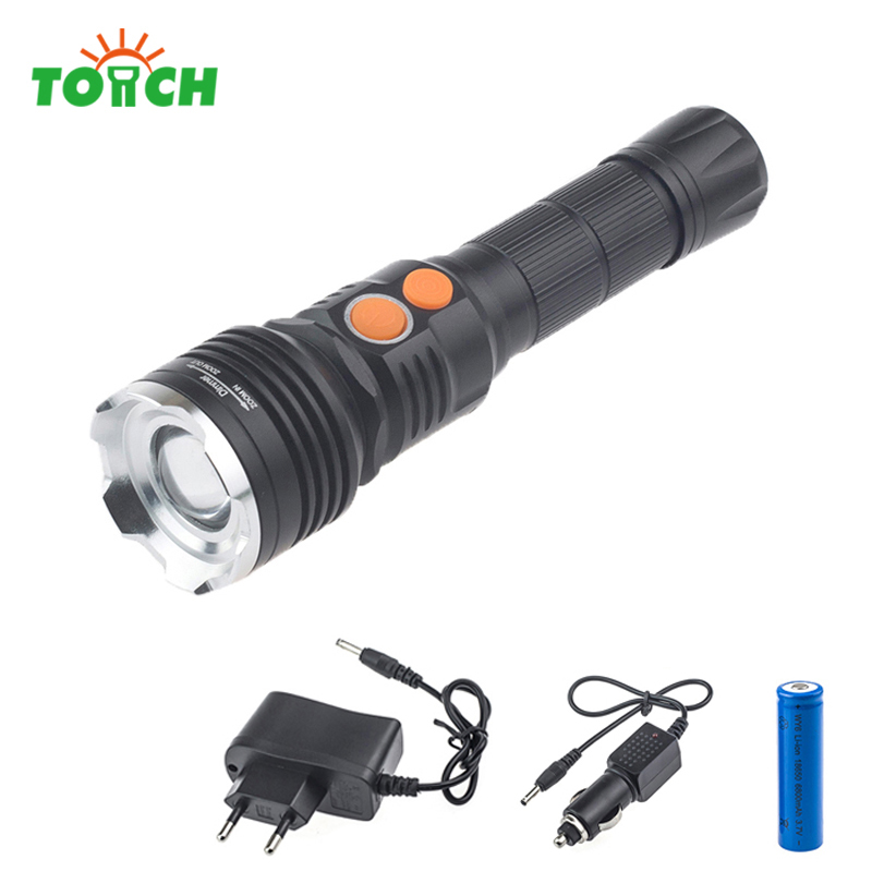 Drive Flashlight 3800LM CREE XM-L T6 Torch Zoomable hunting camping cob led flashlight with 18650 battery+AC charger+car charger crazyfire led flashlight 3t6 3800lm cree xml t6 hunting torch 5 mode 2 18650 4200mah rechargeable battery dual battery charger