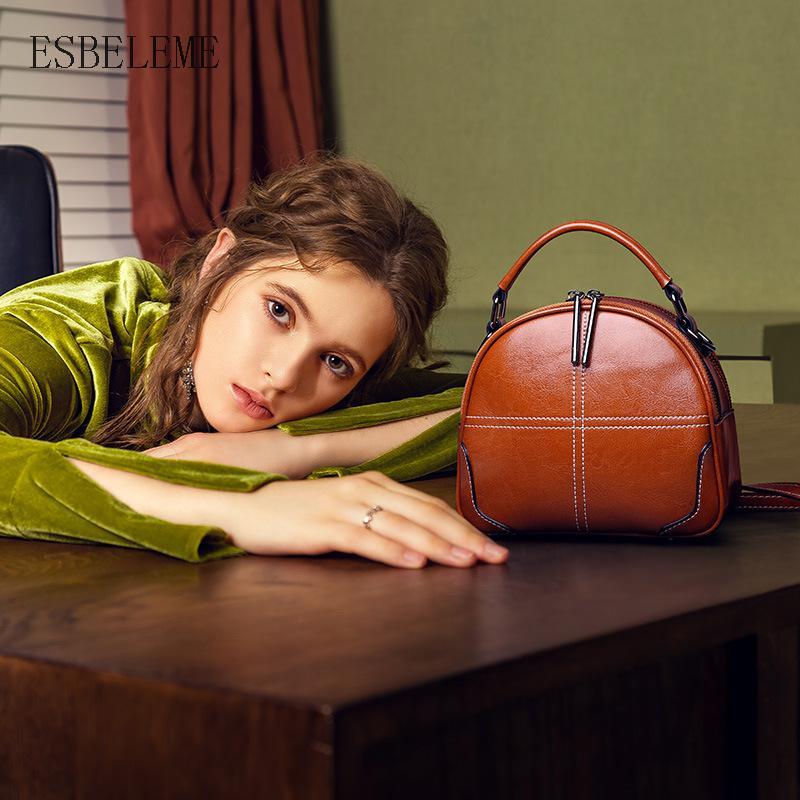 Famous Brand Genuine Leather Women Vintage Handbags for Female Burgundy Brown Luxury Single Shoulder Bag Laides