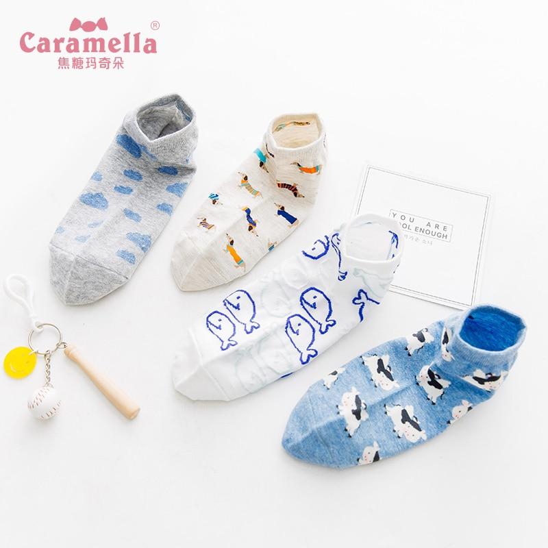 Caramella 4Pairs Cozy Women Socks Happy Fashion Ankle Funny Socks Animal Print Cartoon Cute Soft Girls Short Socks