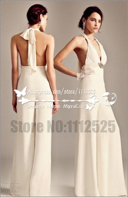 Awp 1014 New Arrival Charming Bridal Wedding Pant Suits Dresses Deep