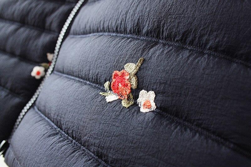 D'hiver À Down Taille Long Manteau Parkas Femmes Coton Bleu marine Épaisse Chaud Broderie Marron La Veste Plus Capuchon w1xBI7Uqf