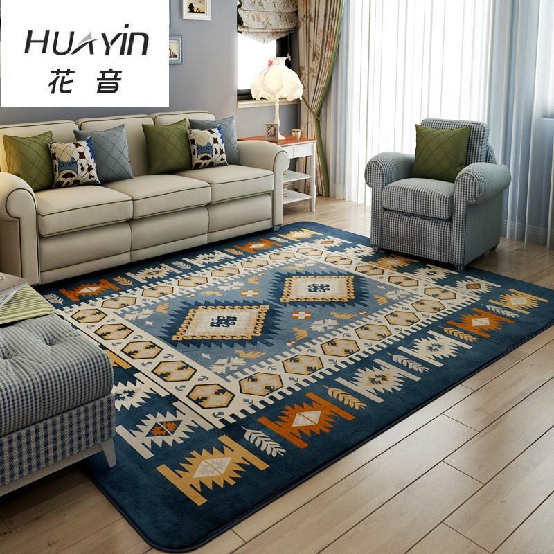 Mediterranean Carpet Living Room Coffee Table Coral Velvet Bed Blanket Can Be Machine Wash Simple Modern Mat Rug 130CMX190CM/