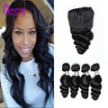 8A Brazilian loose wave with closure Brazilian loose wave virgin hair with closure Human Hair Weave 4 bundles with Lace Closure