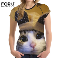 FORUDESIGNS Basic T Shirt Women Short Sleeve Casual T Shirt 3D Cute Cat Print T Shirts