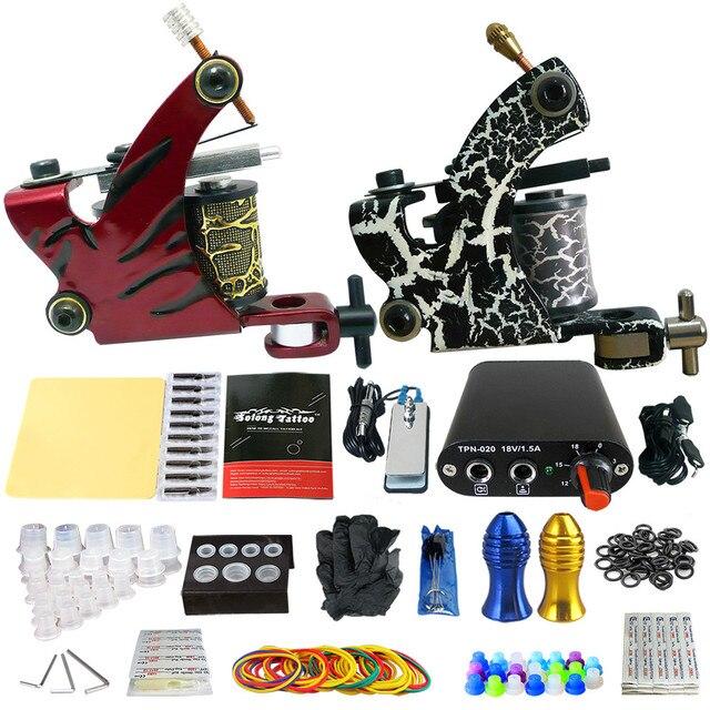 Solong Tattoo Beginner 2 Rotary Tattoo Machine Guns Kits Power Supply Foot Pedal 20 Needles Grip Tip Ink Cup TK201-38