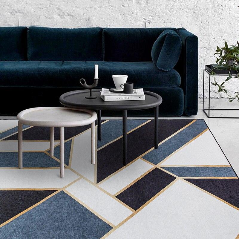 Chique francês Salão de marrocos Que Vivem Tapete tarja geométrica ouro AZUL Indiano bohemia GEOMETRIA Tapete Tapete Moderno design de estilo Nórdico