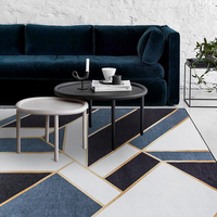 French chic morocco Living Parlor Carpet geometric stripe gold BLUE Indian Rug bohemia GEOMETRY Modern Mat design Nordic style