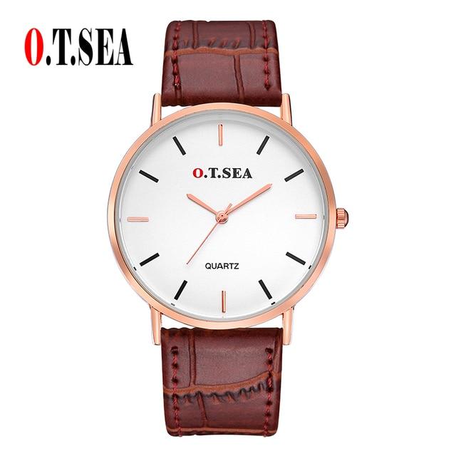 O.T.SEA Brand Leather Watches Men Women Fashion Casual Dress Quartz Wrist Watch