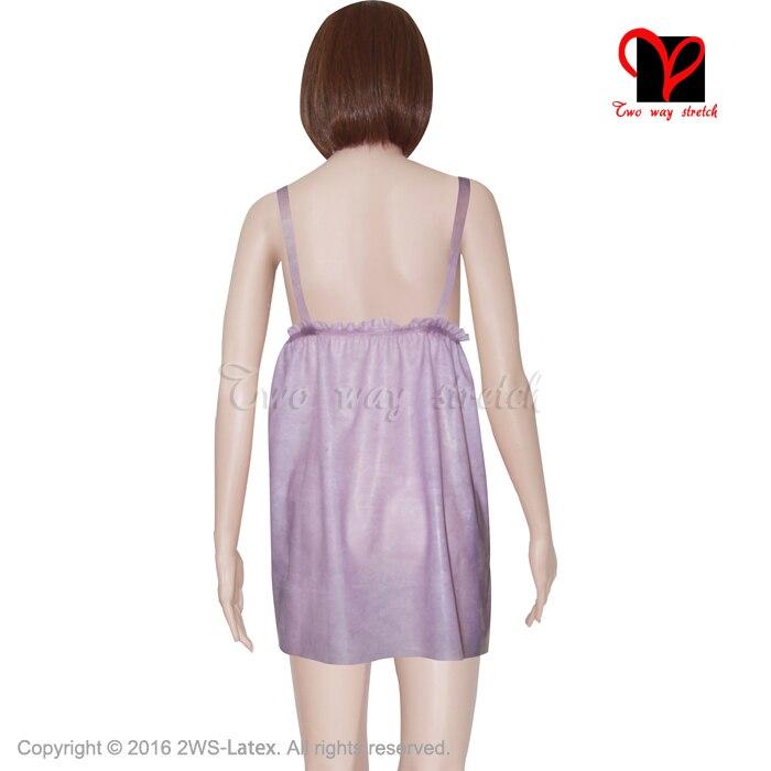 Sexy Transparent violet Latex déshabillé Pyjama nuisette lingerie caoutchouc Pyjama nuisette Pyjamas Camisole nuisette plus NY 006 - 2