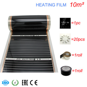 Image 3 - 10M2 Carbon Foil Kits Electric Underfloor Heating Film, Room Digital Thermostat, Heating Film Clamps