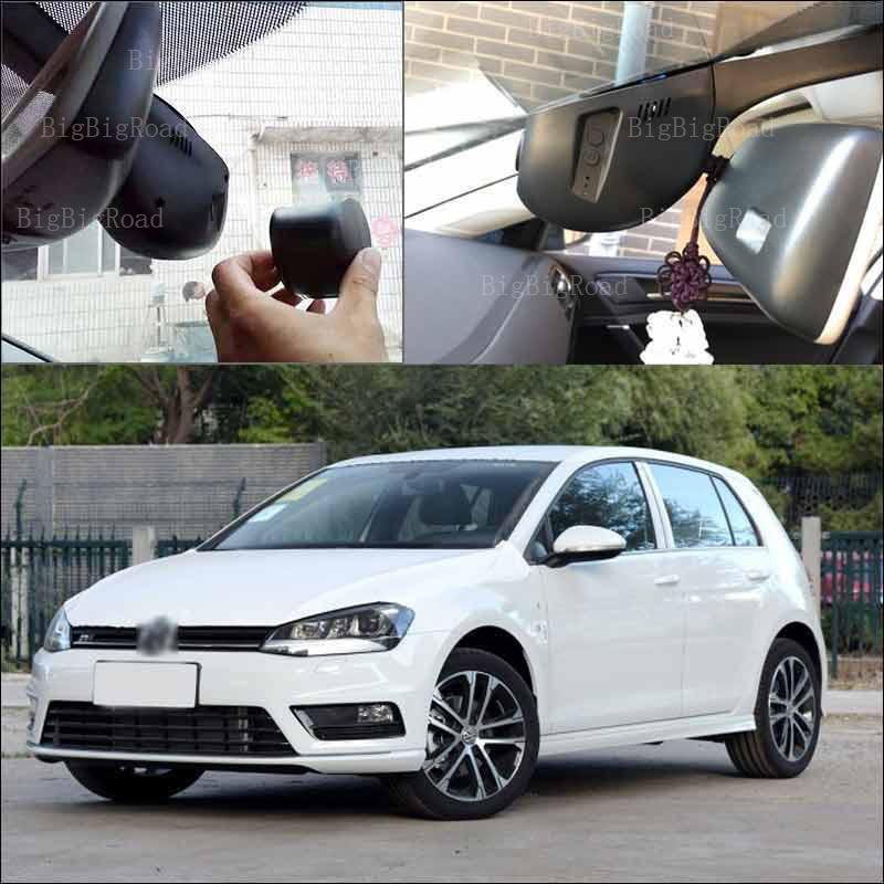 BigBigRoad For vw golf 7 2016 Car Video Recorder hidden installation APP control Car wifi DVR Novatek 96655 black box Dash Cam bigbigroad for vw multivan car wifi dvr driving video recorder hidden type novatek 96655 car black box keep car original style