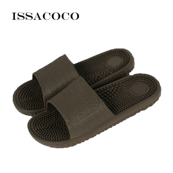 ISSACOCO Men's Flat Indoor Massage Slippers Men Home Non-slip Massage Slippers Zapatos Hombre Beach Flip Flops Men's Slides 1