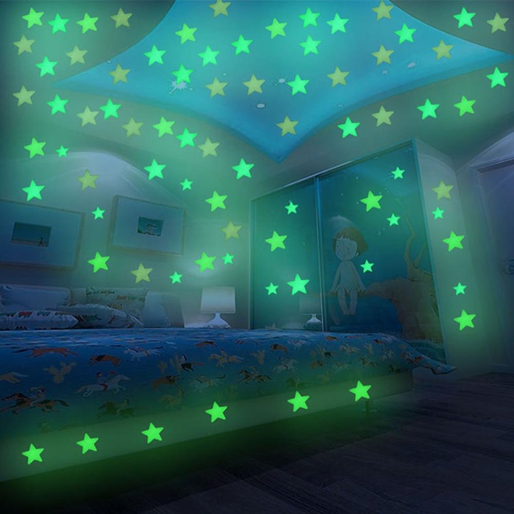 100PCS 3cm 6cm Luminous Star Wall Sticker Glow In The Dark Home Kid Décor Decal