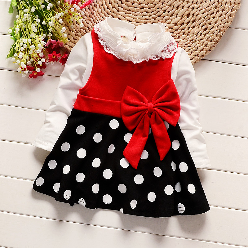 princess bow dress fashion long sleeve kids dot dress for girls spring autum clothes girl lace party dresses children clothing new v neck princess girl polka dot dress bow belt pattern fashion pageant party kids clothing dot vestido girl 8 years baptism