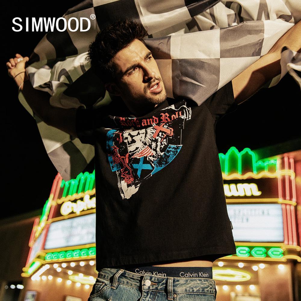 SIMWOOD 2020 Summer New Skulls Print T Shirt Men Fashion Hio Hop Streetwear Tshirt High Quality Tops 100% Cotton Tees 190299
