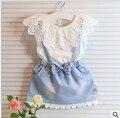 Conjunto de roupas de verão 2015 de marcas famosas colete da menina com Cintas saia de moda de renda vestido infantil de menina