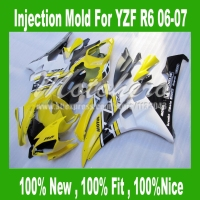 100 Fit Injection Black Yellow White Fairing Kit For Yamaha YZF R6 06 07 YZF R6