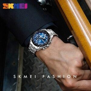 Image 3 - SKMEI קוורץ שעון גברים נירוסטה רצועה עמיד למים שעונים תאריך שעון איש אופנה מקרית ספורט צפה relogio masculino 1393