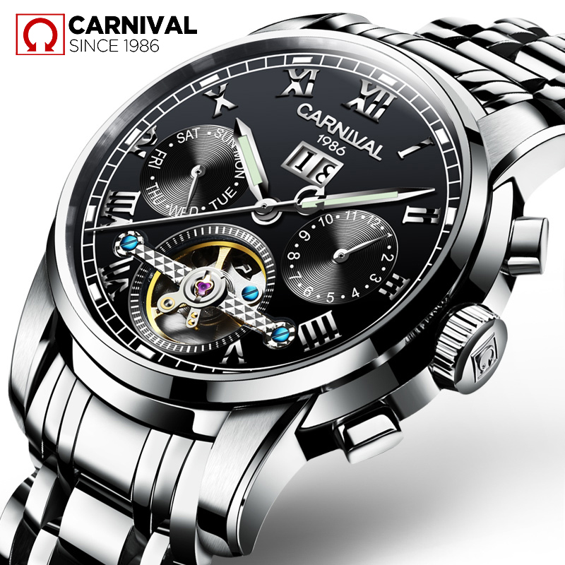 Original CARNIVAL Men's Automatic Mechanical Skeleton Wrist Watch TopBrand Luxury Waterproof Stainless Steel Relogio Masculino женские часы 33 element 331709c