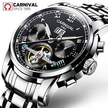 Original CARNIVAL Men's Automatic Mechanical Skeleton Wrist Watch TopBrand Luxury Waterproof Stainless Steel Relogio Masculino