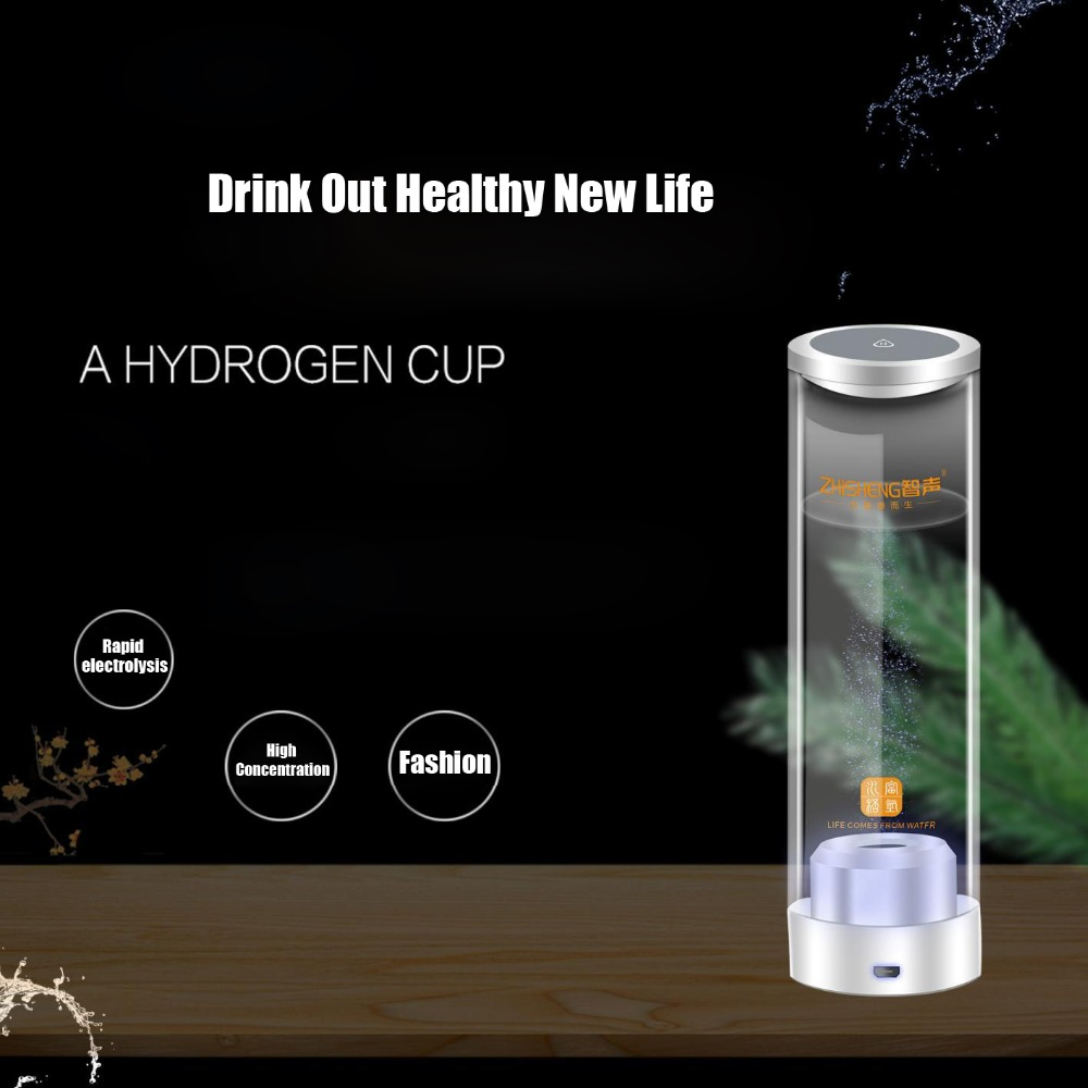 500ML Touch Switch Hydrogen Rich Water Generator Glass USB Rechargeable Water Electrolysis lonizer Alkaline Healthy Cup Bottle new arrival hydrogen generator hydrogen rich water machine hydrogen generating maker water filters ionizer 2 0l 100 240v 5w hot