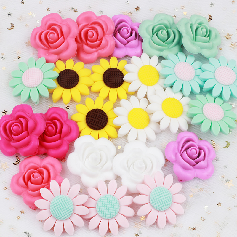 TYRY.HU Rose Silicone Beads 3PCS Teething Necklace Nursing Toy Accessories Newborn Teething Silicone Teethers