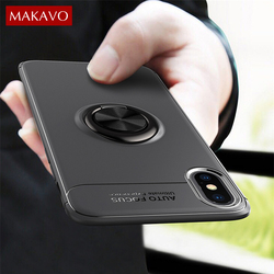 MAKAVO For Apple iPhone XS Case iPhone XR Skin Ring Holder Matte Soft Silicone Back Cover For iPhone XS Max Phone Cases 1