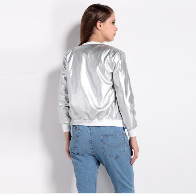 2017 SELLWORLDER Fashion Coat Women O-Neck Long Sleeve Basic Outwear Coat Casual Zipper Fly Slim Bomber Jacket For Ladies 4
