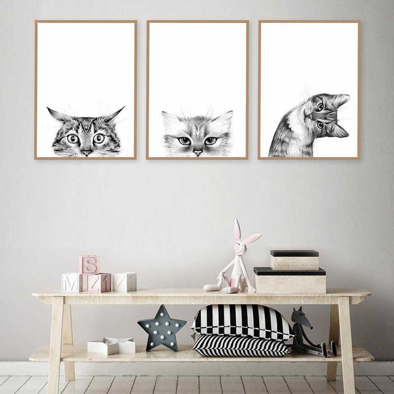 Canvas Painting Nordic Style Pictures Hd Prints Cat Funny Animal Wall Artwork Modular Minimalist Poster For Kids Room Home Decor