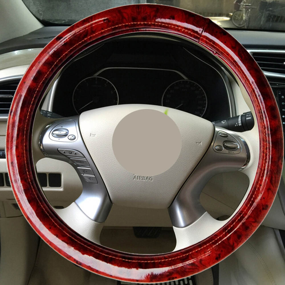 DIY Braid On the Steering Wheel MicroFibre Leather Steering Wheel Cover 38cm Universal Steering Cover With Needle and Thread