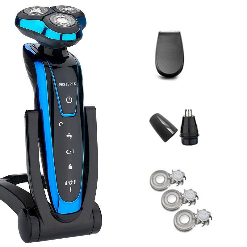 Livraison rapide hommes rasoir électrique Rechargeable rasoir électrique Machine à raser tondeuse à barbe lavable humide-sec étanche