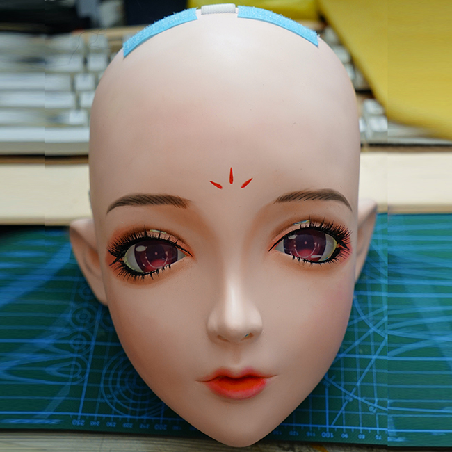 kig201 Hearty gurglelove Female Sweet Girl Resin Half Head Kigurumi Mask With Bjd Eyes Cosplay Anime Role Lolita Mask Crossdress Doll