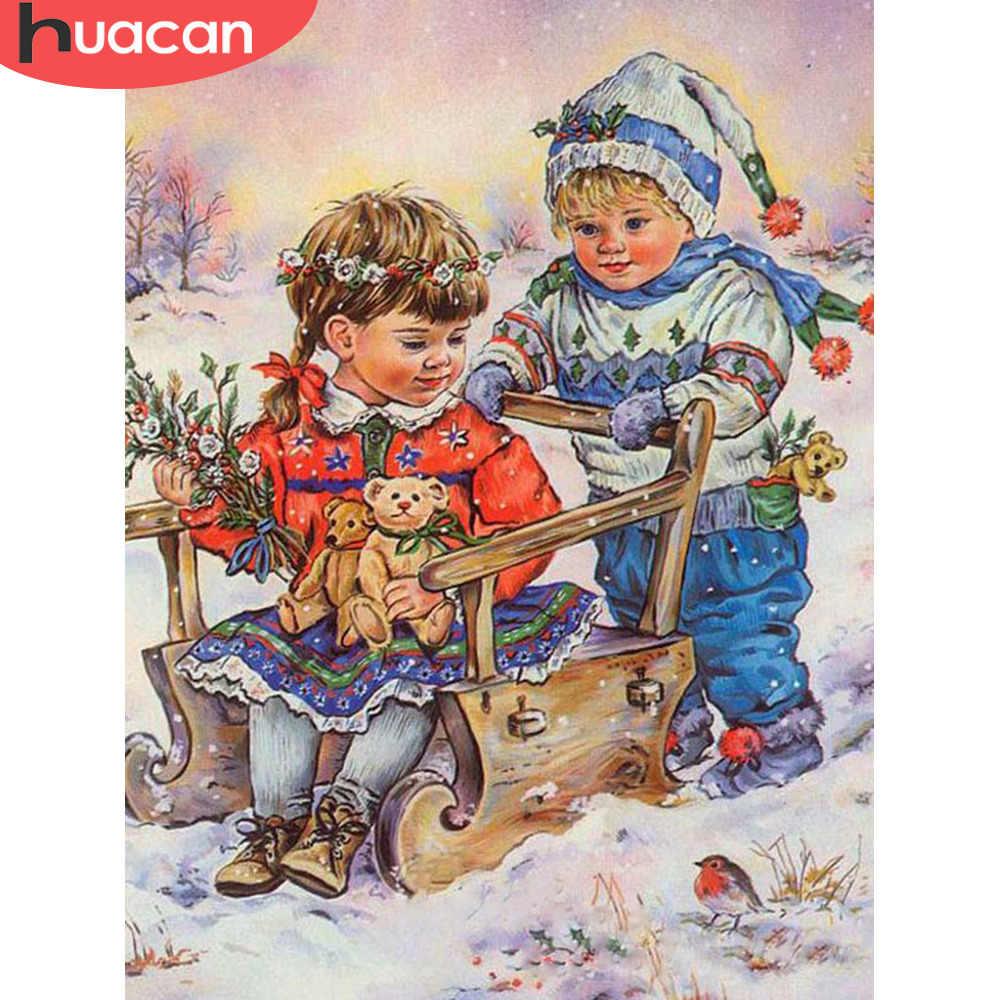 HUACAN Diamant Mosaik Kind Bild Von Strass Diamant Stickerei Porträt 5d Diamant Malerei Voll Platz/Runde Dekor Hause
