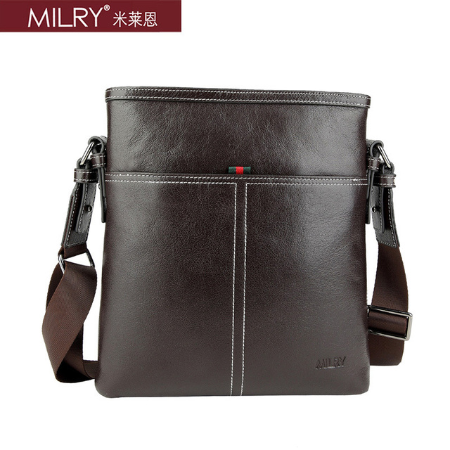 New  Brand MILRY 100% Genuine Leather shoulder Bag for men messenger bag fashion business bag real cowhide cross body CS0010-2