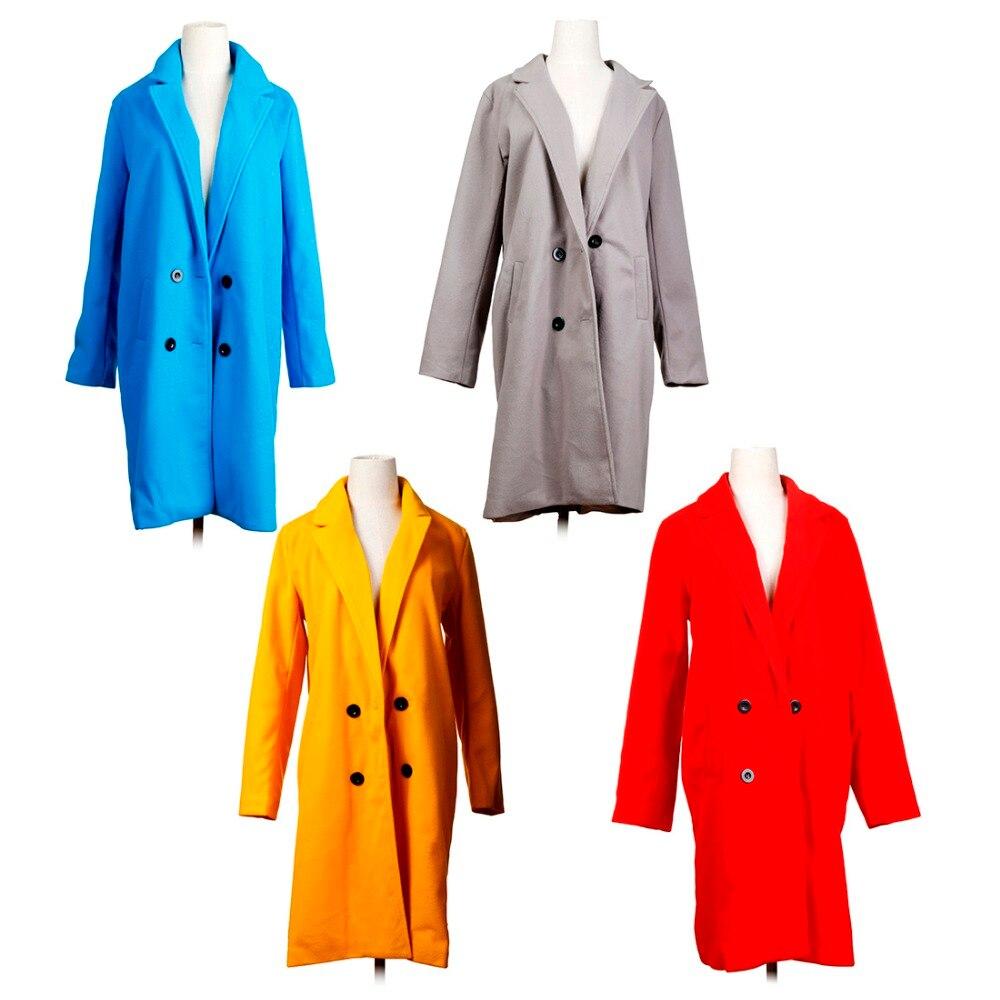 Women Autumn Winter Woollen Coat Long Sleeve Turn-Down Collar Oversize Blazer Outwear Jacket Elegant Overcoats Loose Plus Size 7
